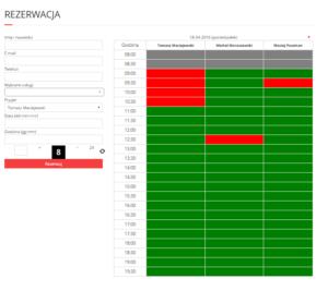 Kalendarz i formularz rezerwacji wtyczka - front